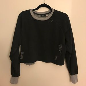 Urban outfitters ripped cropped sweatshirt
